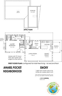 Prospective layout for the EMORY model in the Amabel Pocket Neighborhood.